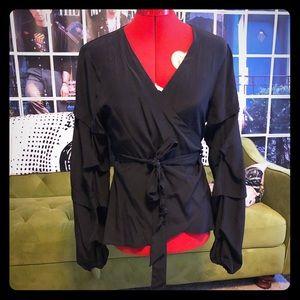 Nanette Lepore Atelier ruffle sleeve wrap top